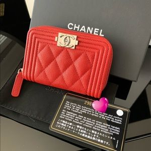 Chanel | Red Caviar Leather Zip Card Holder